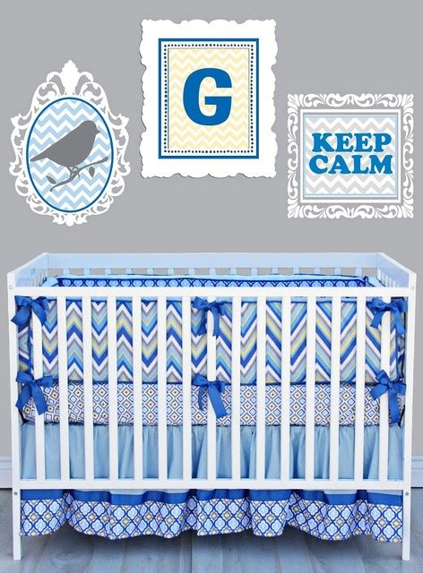 Blue Chevron Crib Bedding Gage Baby Crib Bedding Set Chevron Blue Modern Baby Bedding New York By And