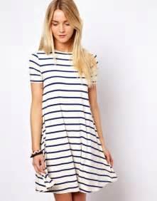 patio dress asos collection asos swing dress in stripe print in white