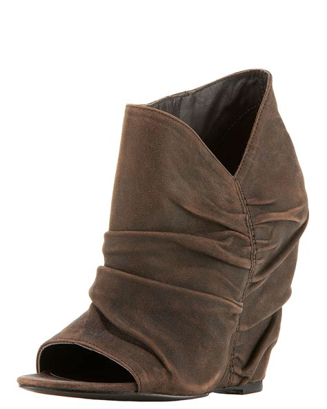 Peep Toe Booties Galore by Elizabeth And Ruched Peep Toe Wedge Bootie In Black