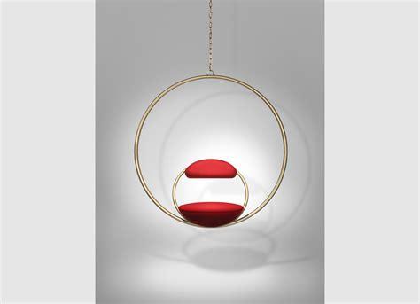 hanging hoop chair brass