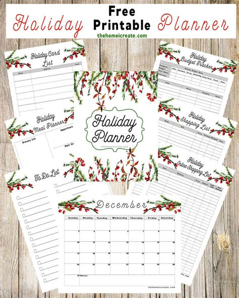 free holiday planner printable free printable holiday planner the home i create