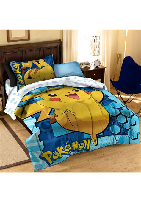 pokemon pikachu twin full comforter with pillow set