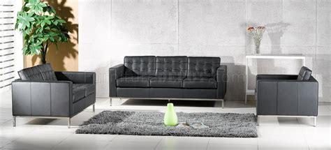 full living room set black full leather button tufted 4pc living room set