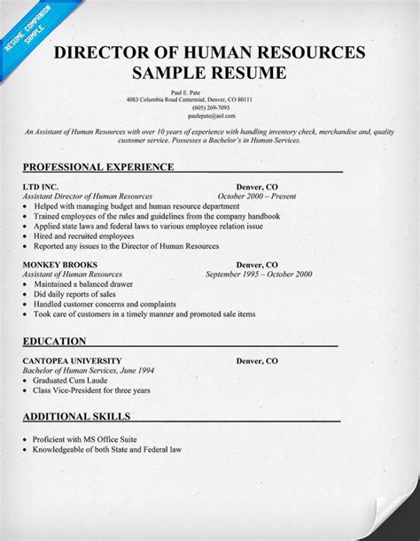 director of human resources sle resume resumecompanion resume sles across all