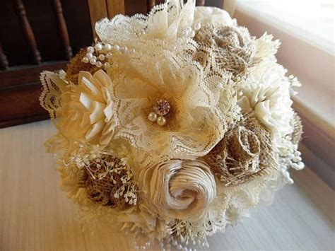 shabby chic style floral bouquet rustic shabby chic bouquet with burlap sola flowers rhinestones pearls rustic country