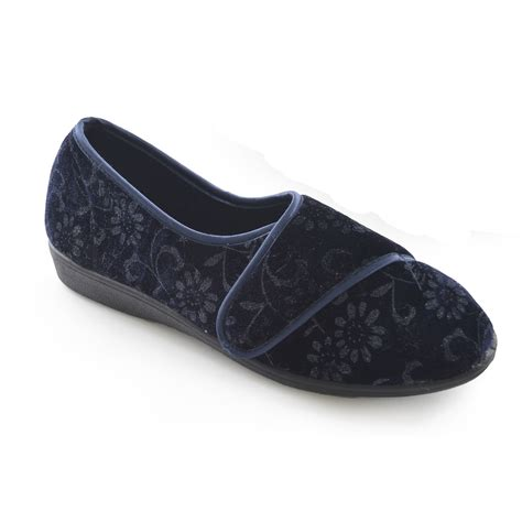 indoor slippers for womens floral touch fastening velour indoor