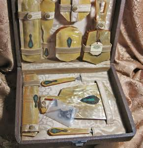 antique celluloid vanity travel set deco by