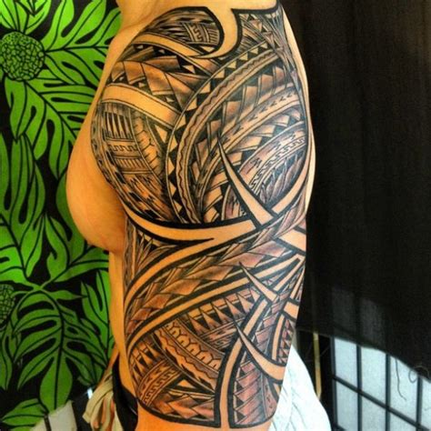 hawaiian half sleeve tattoo designs polynesian half sleeve 05152013 5 jpg 600 215 600