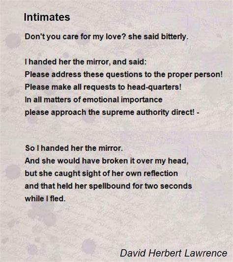 intimates poem by david herbert lawrence poem hunter