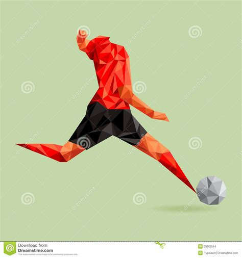 Origami Football Player - abstract shape soccer player polygonal stock vector