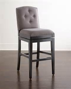 Gray Bar Stools Pepperton Tufted Swivel Barstool Gray