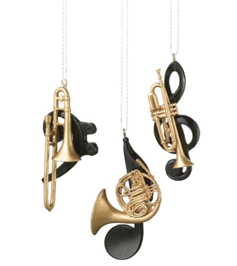 brass instrument christmas ornament set of 3