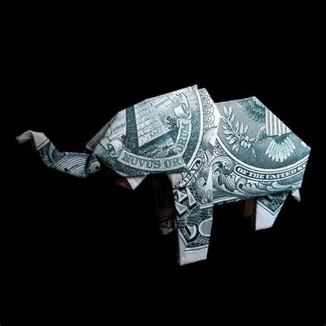 Elephant Origami Dollar - elephant gift figurine money origami sculpture
