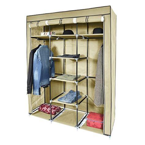 Metal Frame Canvas Wardrobe by Save 20 Mari Home Ashby Beige Premium Metal