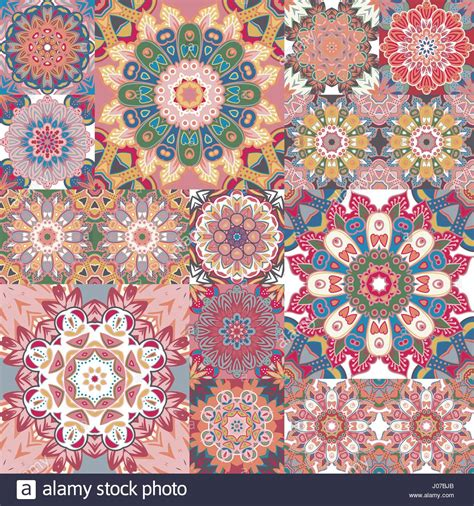 fliese retro pastel vintage seamless pattern with floral and mandala