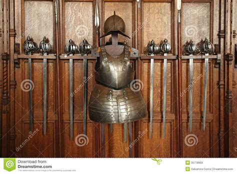 armour and swords on display swords and armor stock image image of steel