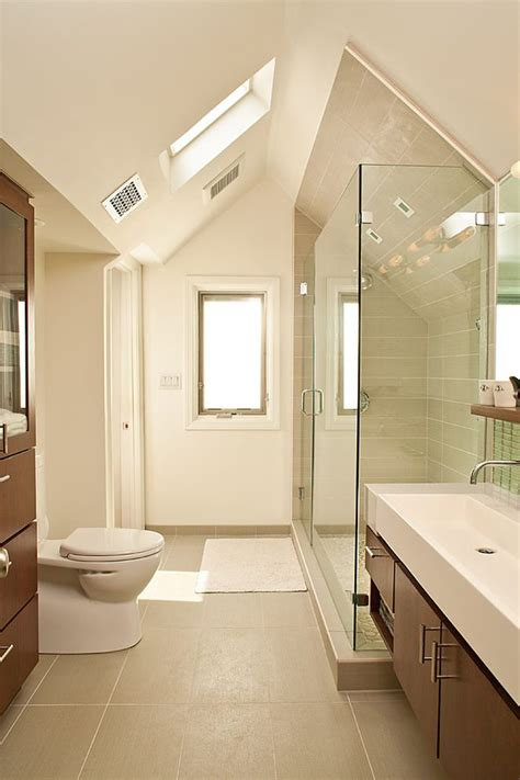 angled ceiling bathroom contemporary with small bathroom modern wall and floor tiles