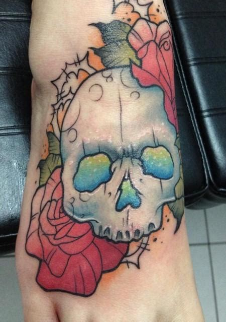 new school girly tattoo girly skull tattoo design thumbnail