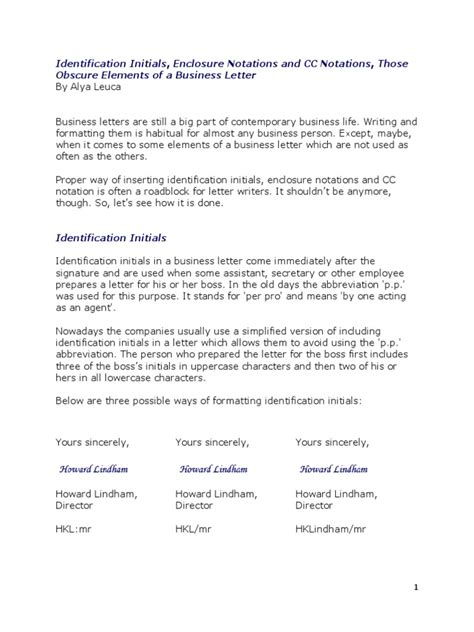 business letter template cc and enclosure identification initials enclosure notations and cc