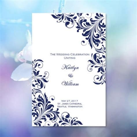 wedding missalette layout catholic church wedding program quot kaitlyn quot navy blue 8 5 x