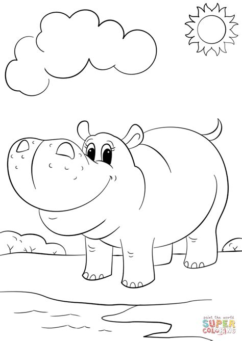 cute cartoon hippo coloring page free printable coloring