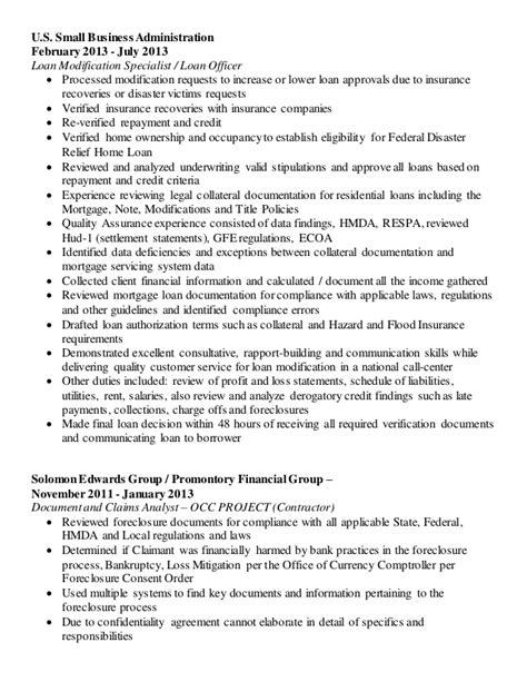 Loan Modification Specialist Sle Resume by Renee Galvin Updated Resume 01 2016