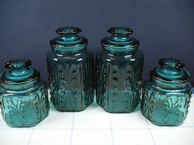 turquoise kitchen canisters vintage teal green aqua blue glass canister set antiques upcycling jars