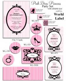 Pink a princess party printable set worldlabel blog