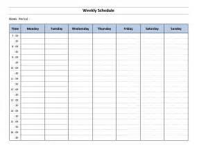 weekly schedule template e commercewordpress