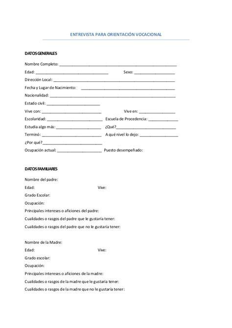 preguntas para una entrevista escolar a un familiar entrevista para orientaci 243 n vocacional formato