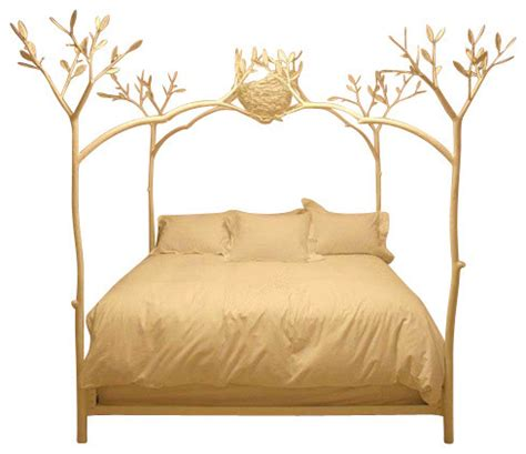 bird headboard twig bed with bird nest white california king