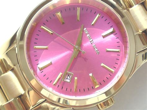 Michael Kors Uhr Silber Damen by Michael Kors Damen Armband Uhr Armbanduhr Vergoldet Runway Pink Mk5801 Ebay