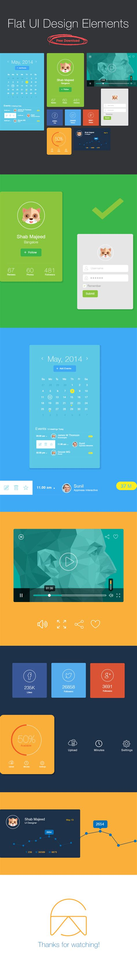 flat design ui elements 20 best free web ui kits for web mobile designers 2015