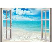 3D Window View Exotic Ocean Beach Wall Sticker Film Decal Wallpaper