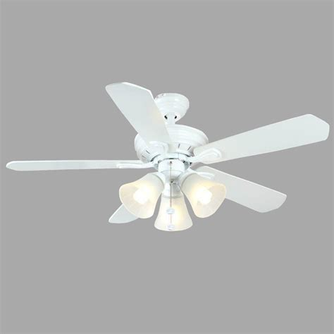 white ceiling fan hton bay westmount 44 in indoor 3 light matte white