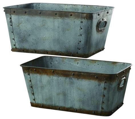 galvanized home decor crestview cvtra248 galvanized metal tubs s 20 quot h l 22 quot h transitional home decor by