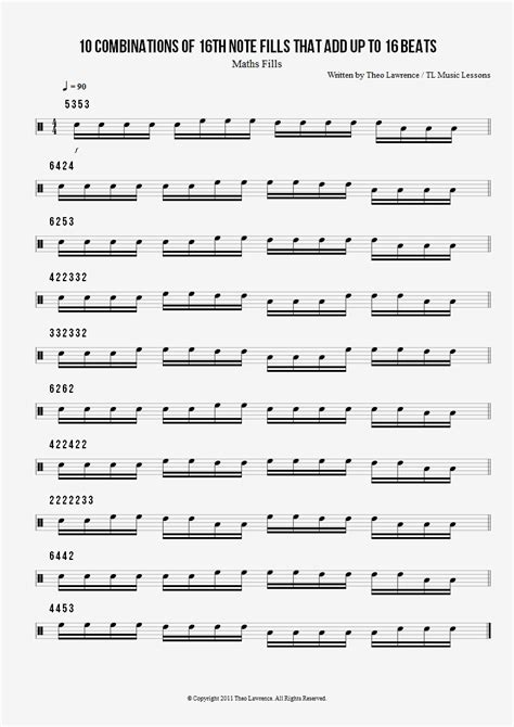 drum pattern scores 10 combinations of 16th note fills that add up to 16 beats
