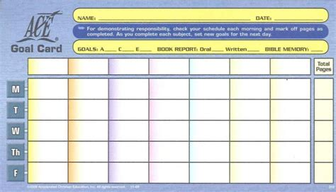 2nd grade report card template corpus christi level goal card from accelerated christian education
