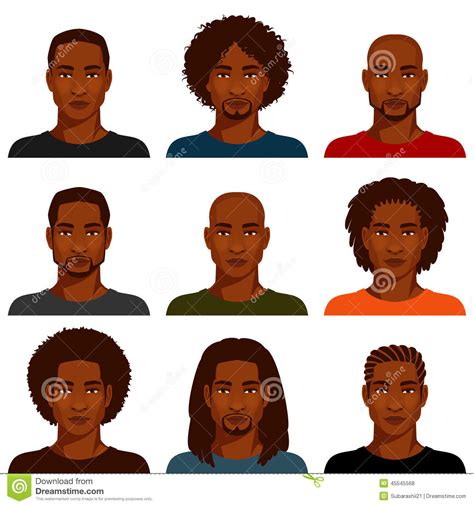 black hairstyles books for free american with various hairstyle stock vector