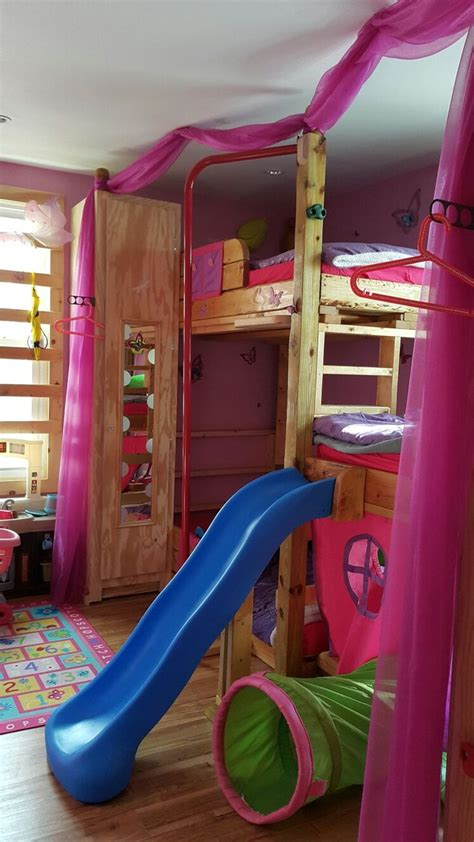bunk beds with slide kids custom made tripple bunk bed with slide monkey bars