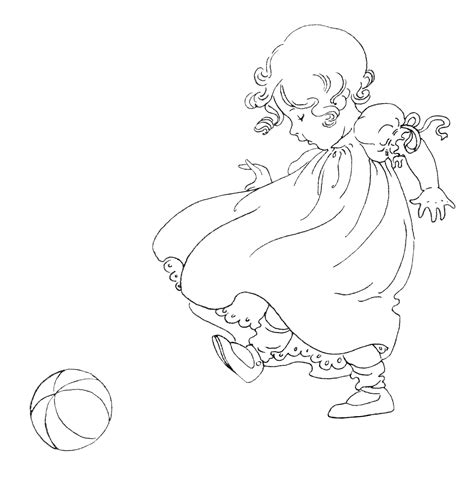 vintage baby coloring pages free vintage image girl kicking ball clip art old design