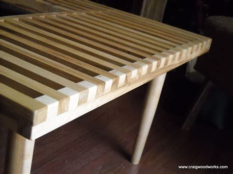 modern piano bench hand crafted of slat benches and slat tables by