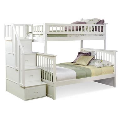 White Bunk Beds With Storage by Atlantic Furniture Columbia Staircase