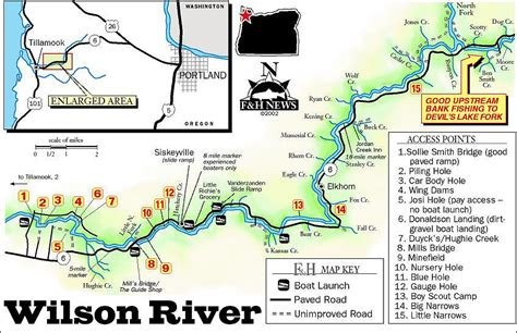 map of oregon mountains and rivers wilson river map steelhead
