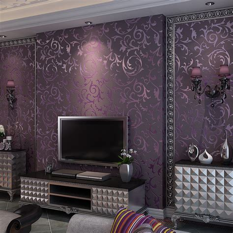 bedroom purple wallpaper european modern luxury three dimensional non woven 3d thick purple bedroom living room