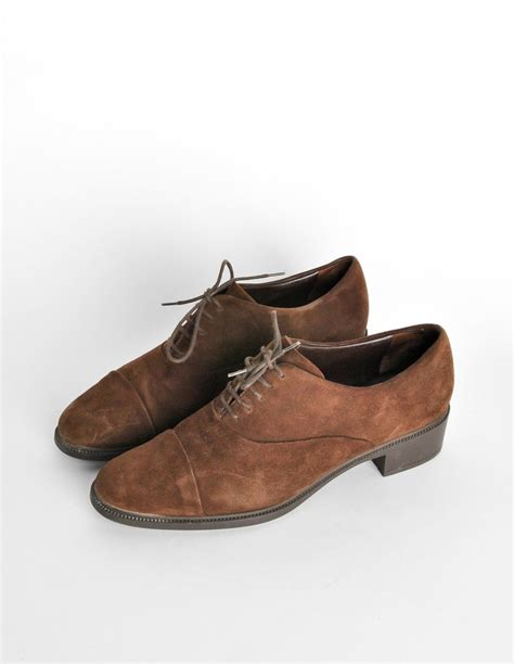 brown suede oxford shoes ferragamo vintage brown suede heeled oxford shoes from