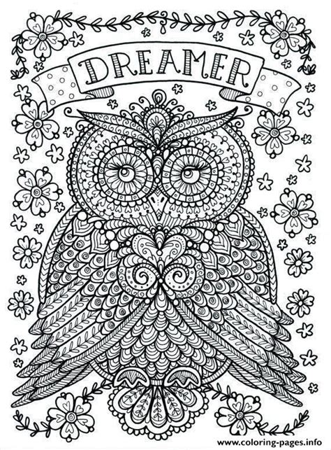 intricate owl coloring pages adult owl dreamer coloring pages printable