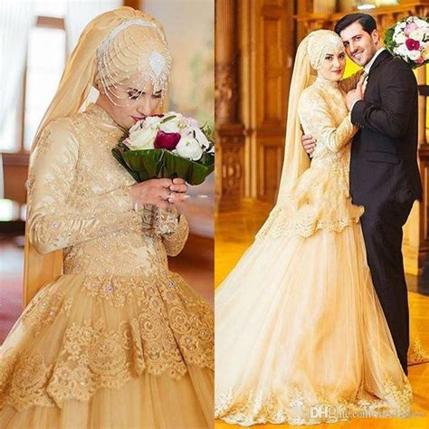 Baju Muslim Simply Byna Dress luxury gold sleeve muslim wedding dresses 2017