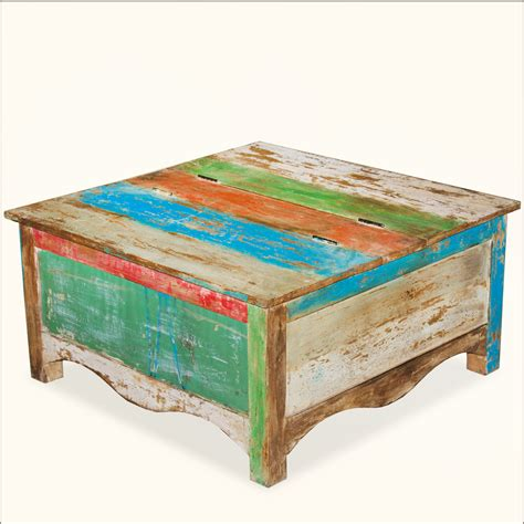 square reclaimed wood storage coffee table chest trunk