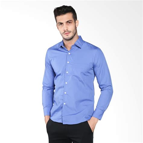Kemeja Pria Biru Stretch Formal jual vm polos slimfit panjang formal sleeves kemeja pria biru harga kualitas